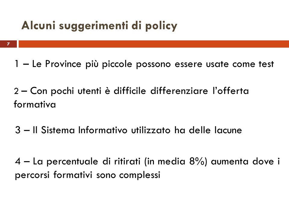 Alcuni suggerimenti di policy