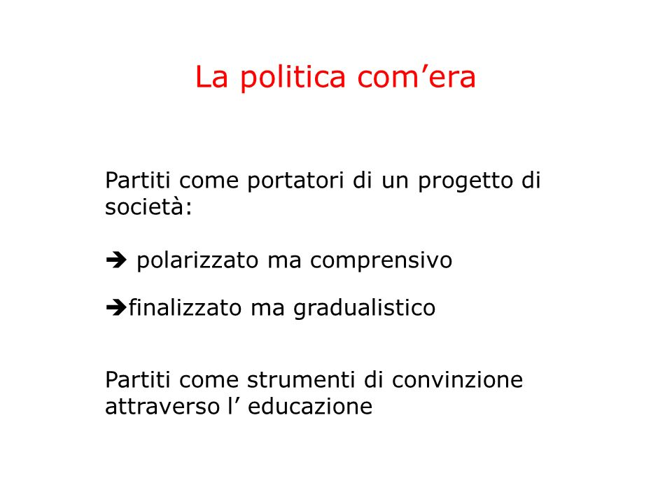 La politica com'era Partiti come portatori di un progetto di società:
