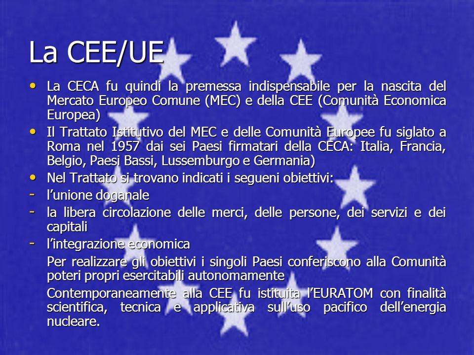 La CEE/UE La CECA fu quindi la premessa indispensabile per la nascita del Mercato Europeo Comune (MEC) e della CEE (Comunità Economica Europea)