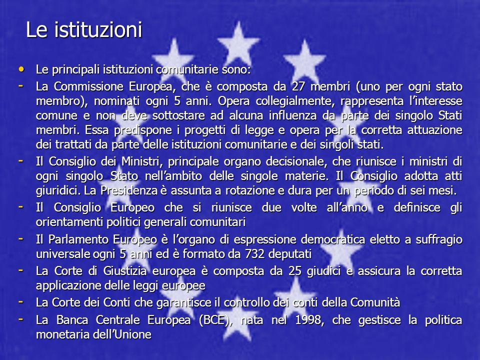 Le istituzioni Le principali istituzioni comunitarie sono: