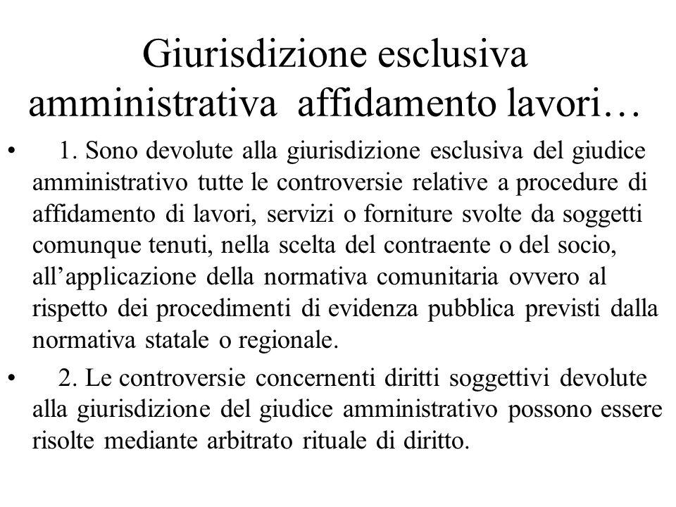 Giurisdizione esclusiva amministrativa affidamento lavori…