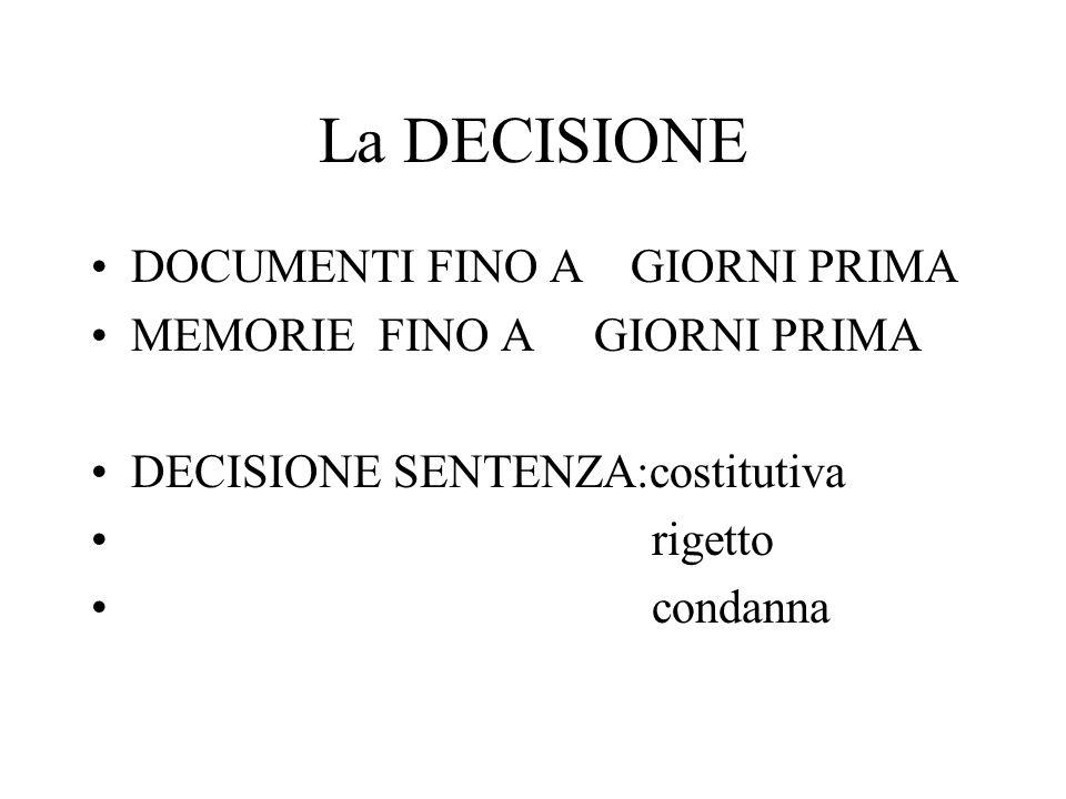 La DECISIONE DOCUMENTI FINO A GIORNI PRIMA MEMORIE FINO A GIORNI PRIMA