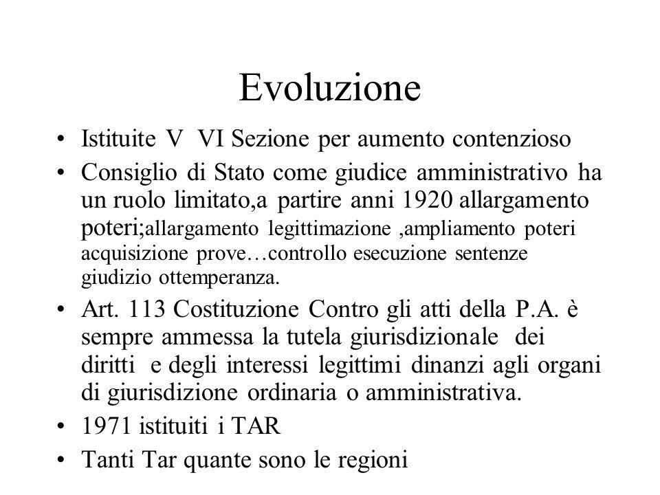 Evoluzione Istituite V VI Sezione per aumento contenzioso