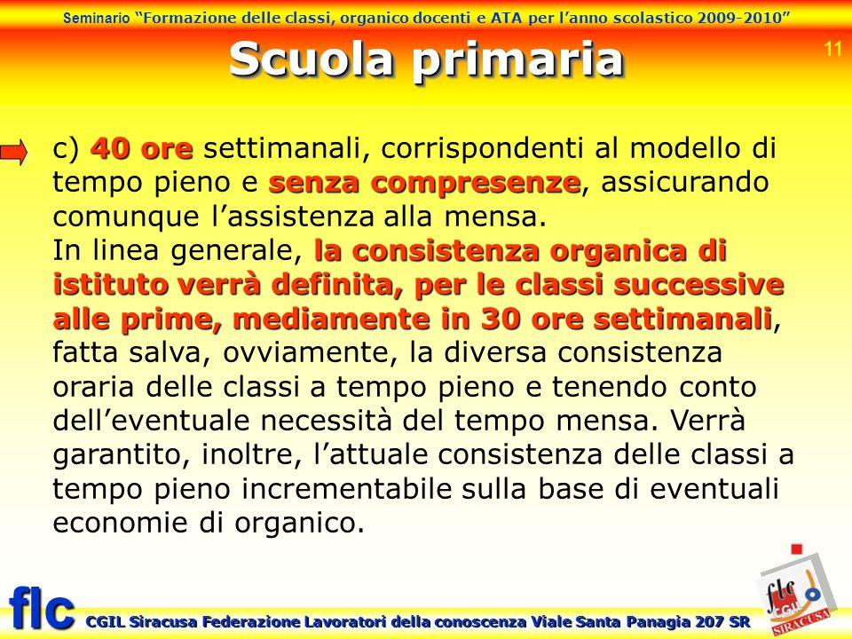 Scuola primaria c) 40 ore settimanali, corrispondenti al modello di tempo pieno e senza compresenze, assicurando comunque l'assistenza alla mensa.