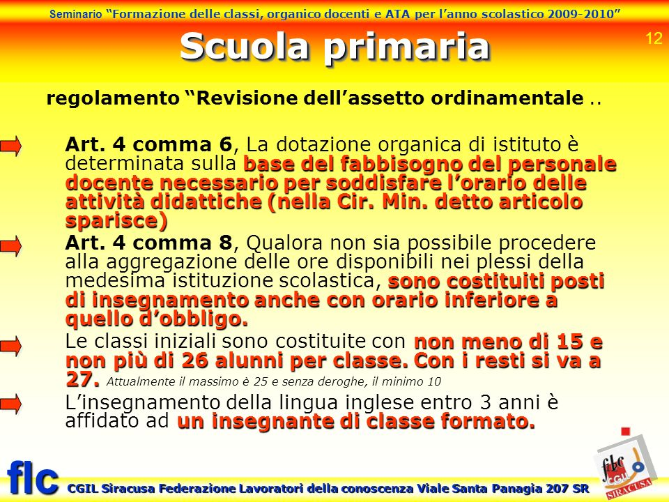 regolamento Revisione dell'assetto ordinamentale ..