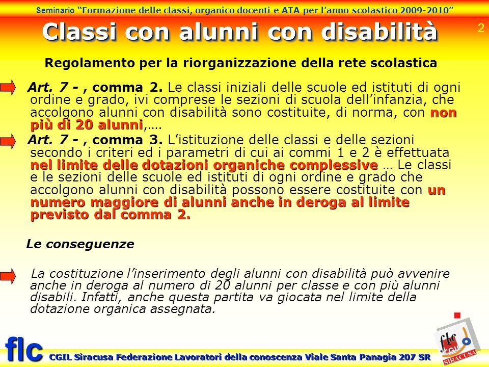 Classi con alunni con disabilità
