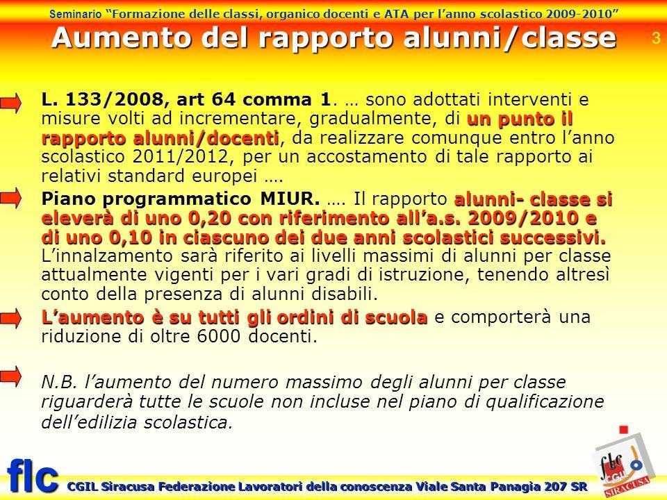 Aumento del rapporto alunni/classe