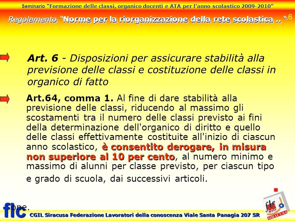 Regolamento Norme per la riorganizzazione della rete scolastica ..