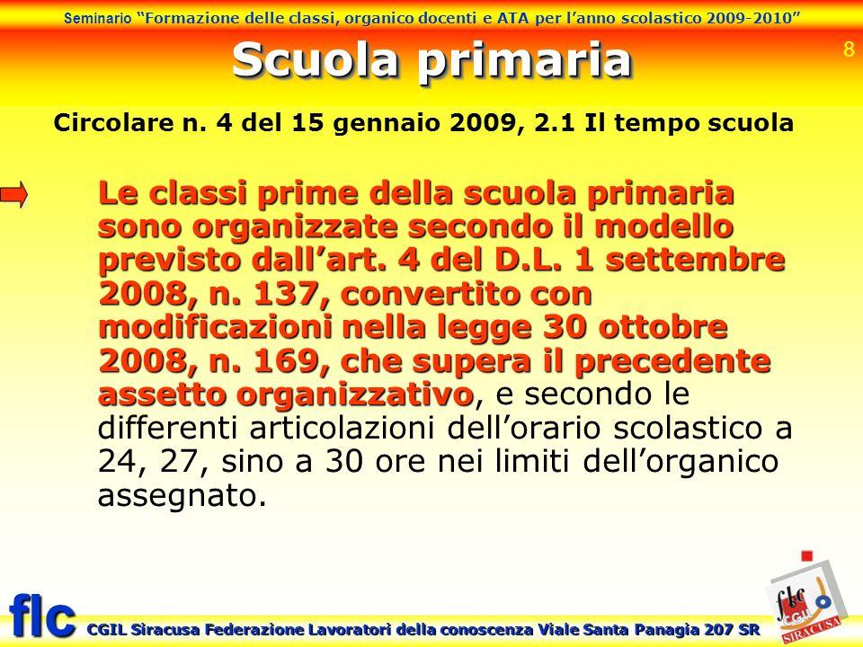 Scuola primaria Circolare n. 4 del 15 gennaio 2009, 2.1 Il tempo scuola.