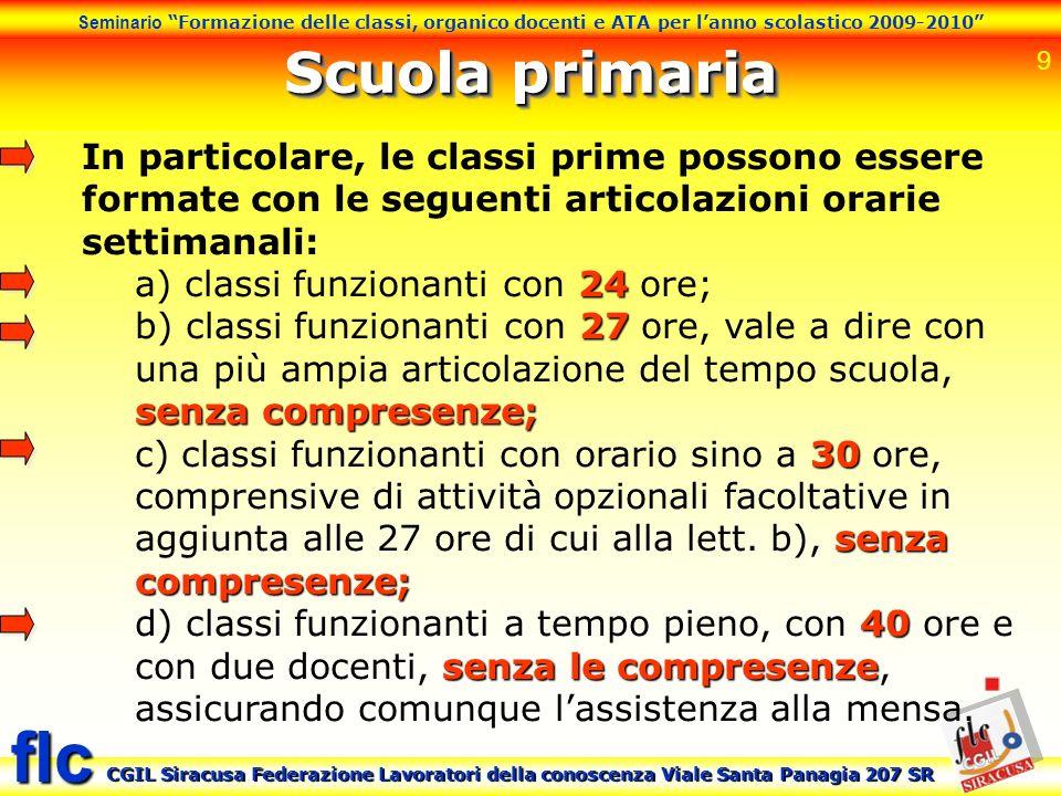 Scuola primaria In particolare, le classi prime possono essere formate con le seguenti articolazioni orarie settimanali: