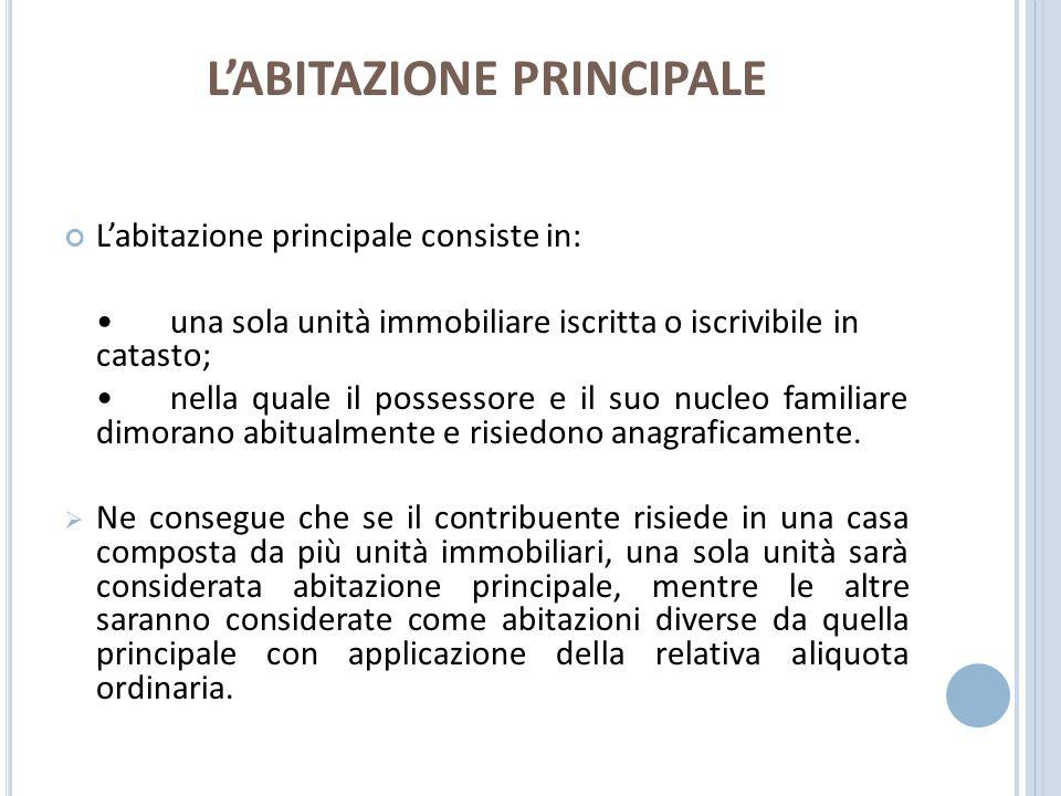 L'ABITAZIONE PRINCIPALE