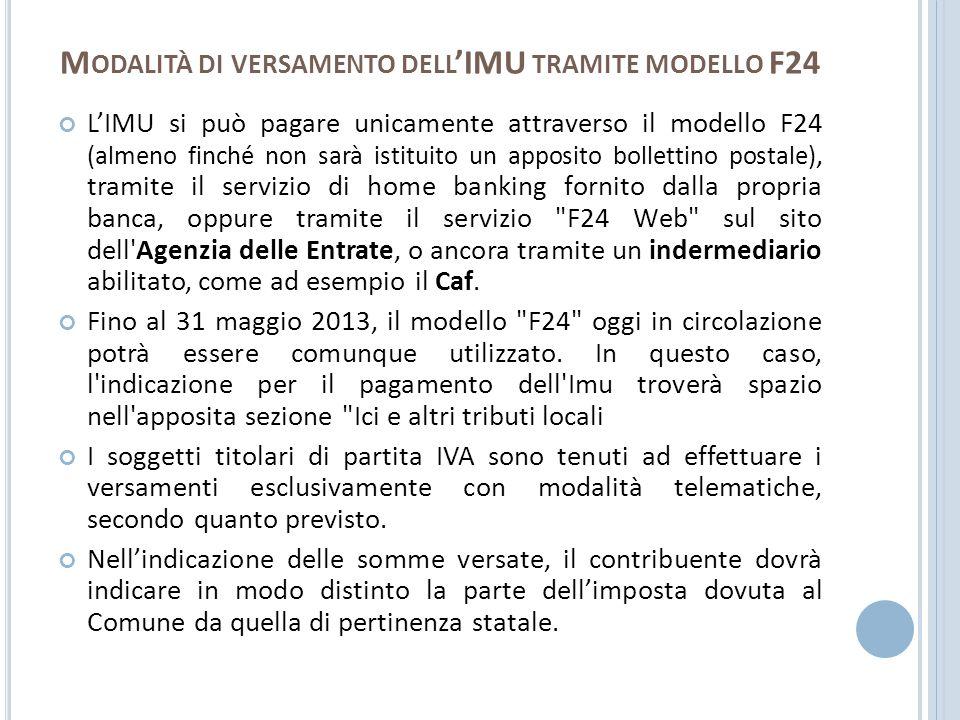 Modalità di versamento dell'IMU tramite modello F24