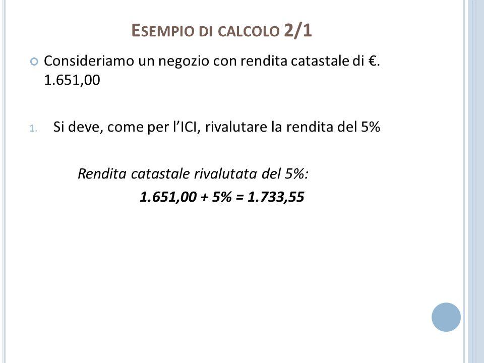 Esempio di calcolo 2/1Consideriamo un negozio con rendita catastale di €. 1.651,00. Si deve, come per l'ICI, rivalutare la rendita del 5%