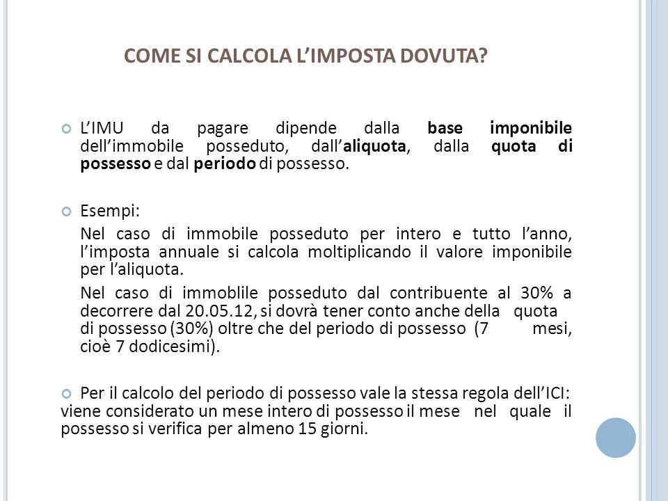 COME SI CALCOLA L'IMPOSTA DOVUTA