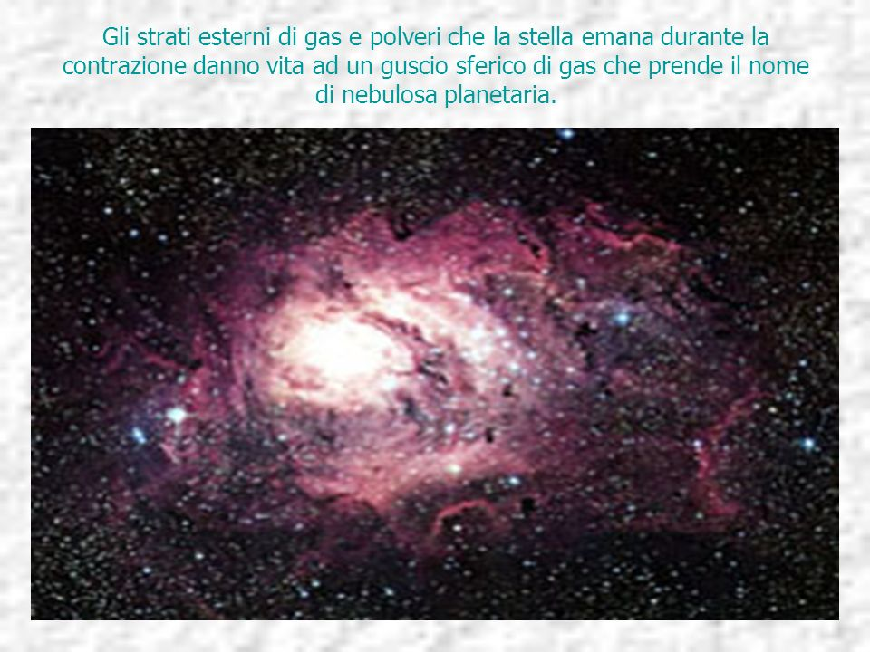 Gli strati esterni di gas e polveri che la stella emana durante la contrazione danno vita ad un guscio sferico di gas che prende il nome di nebulosa planetaria.