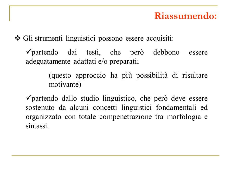 Riassumendo: Gli strumenti linguistici possono essere acquisiti: