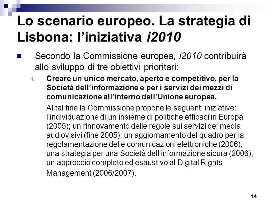 Lo scenario europeo. La strategia di Lisbona: l'iniziativa i2010