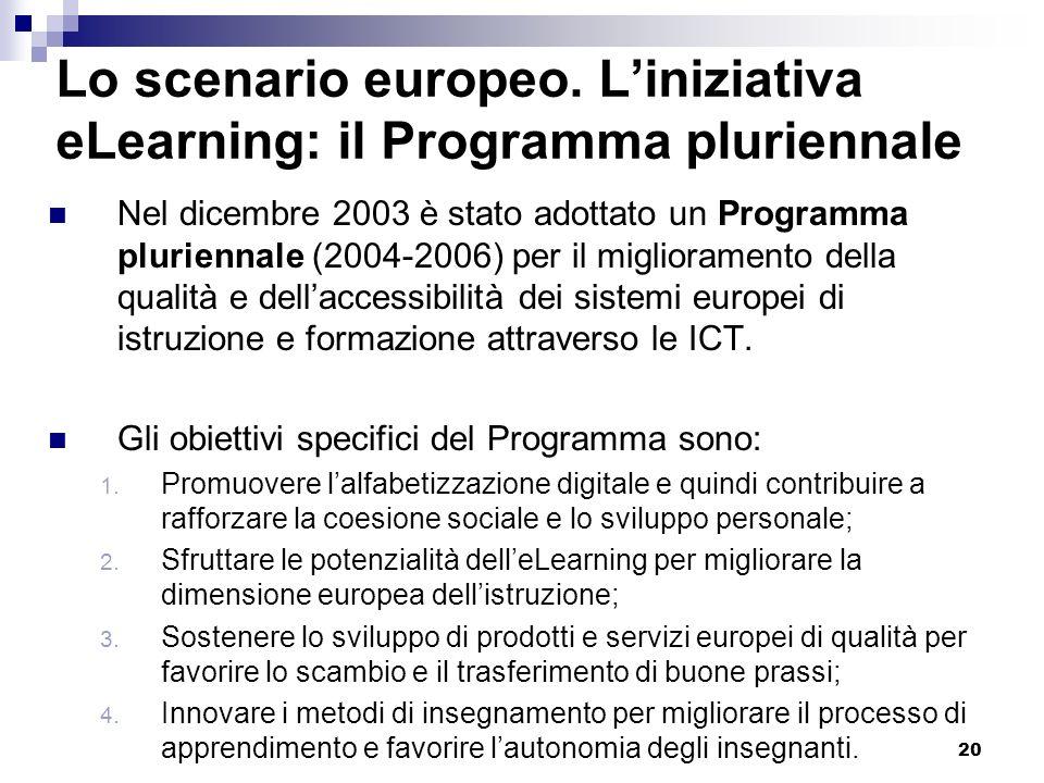 Lo scenario europeo. L'iniziativa eLearning: il Programma pluriennale