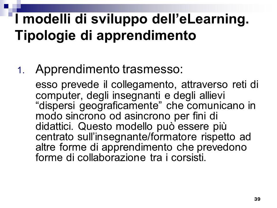 I modelli di sviluppo dell'eLearning. Tipologie di apprendimento
