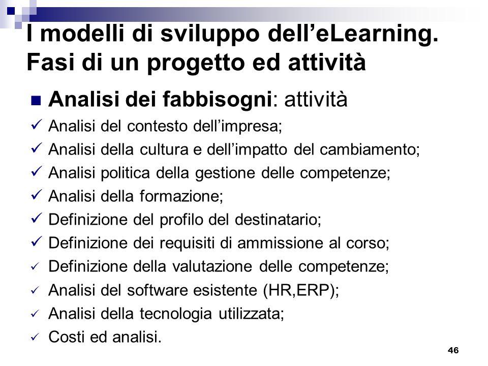 I modelli di sviluppo dell'eLearning. Fasi di un progetto ed attività