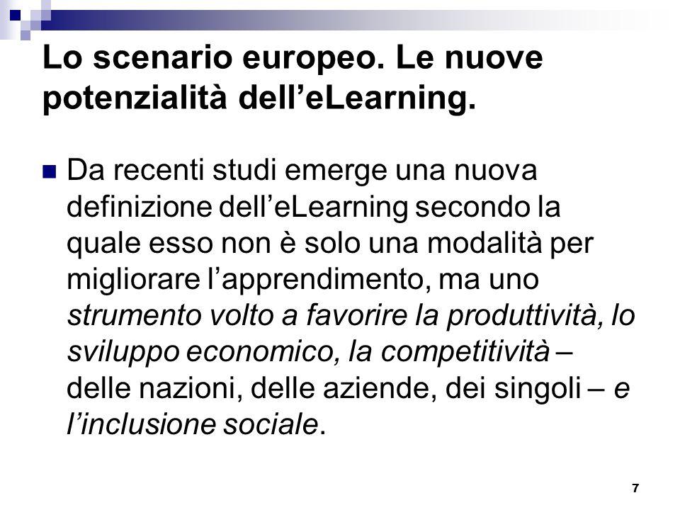 Lo scenario europeo. Le nuove potenzialità dell'eLearning.