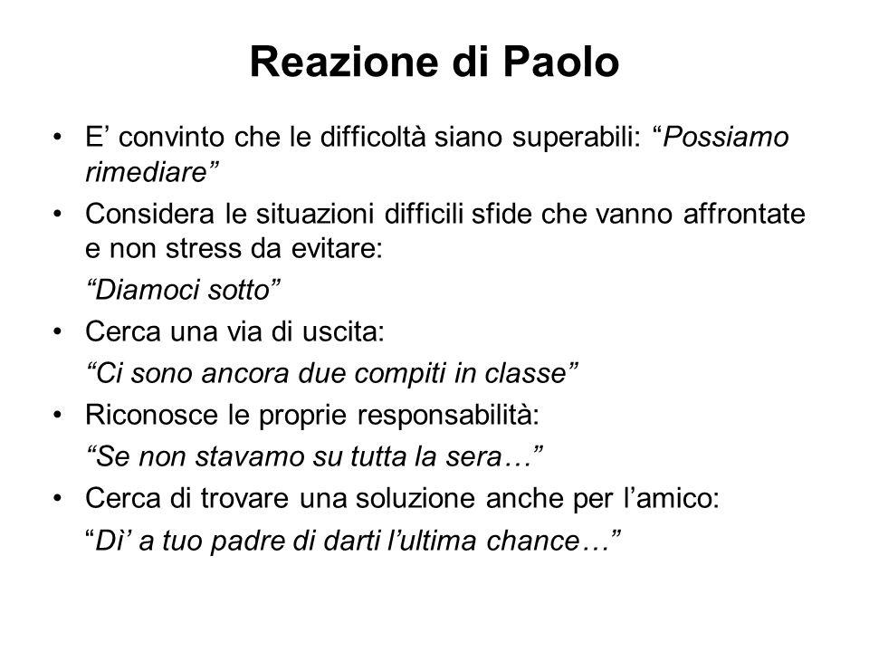 Reazione di Paolo E' convinto che le difficoltà siano superabili: Possiamo rimediare