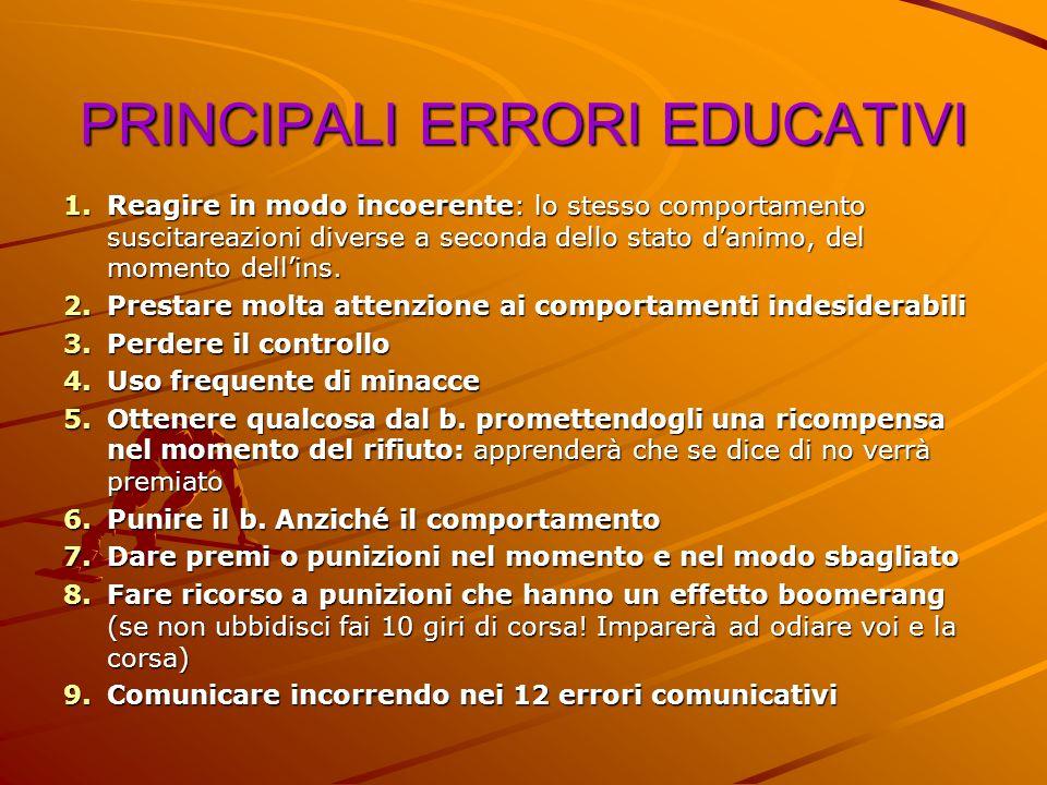PRINCIPALI ERRORI EDUCATIVI