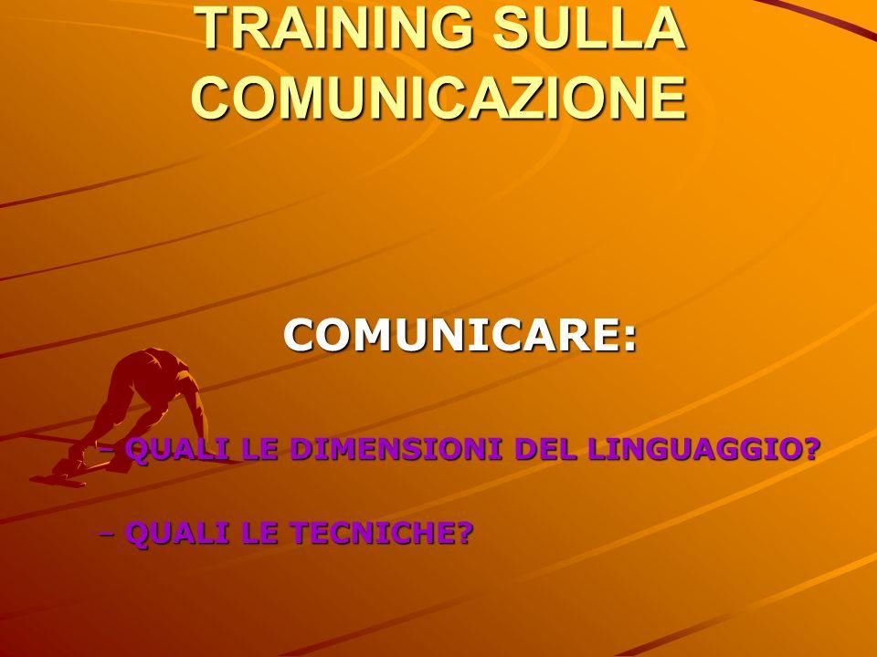 TRAINING SULLA COMUNICAZIONE