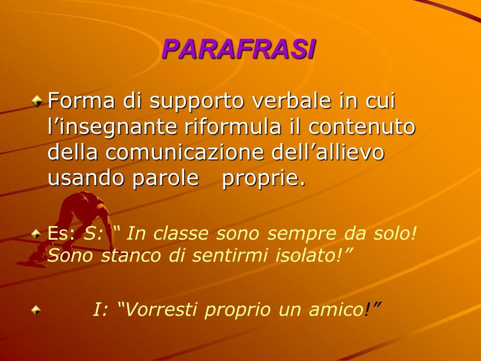 PARAFRASIForma di supporto verbale in cui l'insegnante riformula il contenuto della comunicazione dell'allievo usando parole proprie.