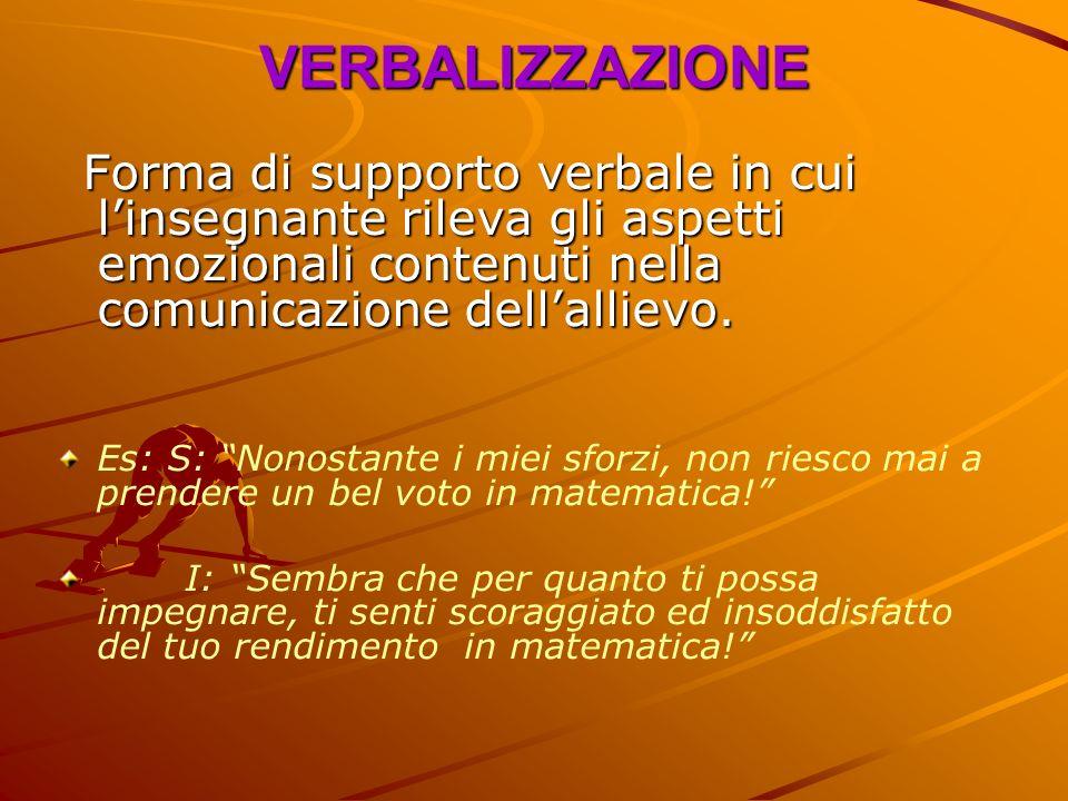 VERBALIZZAZIONE Forma di supporto verbale in cui l'insegnante rileva gli aspetti emozionali contenuti nella comunicazione dell'allievo.