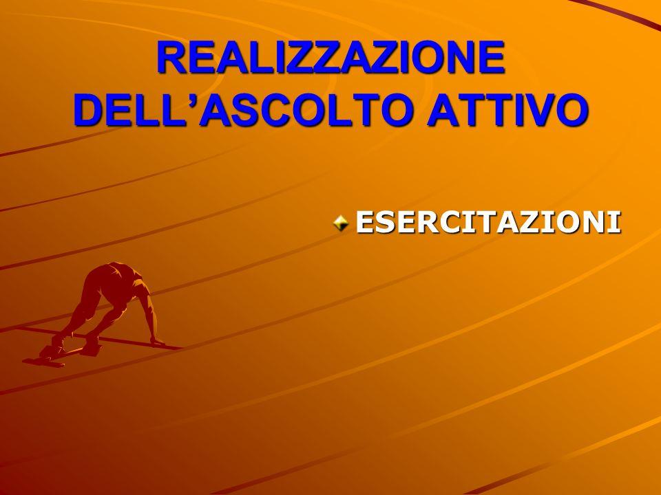REALIZZAZIONE DELL'ASCOLTO ATTIVO