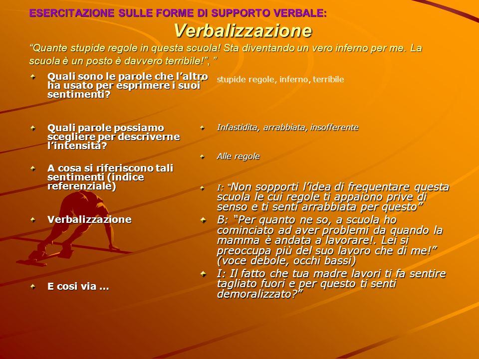 ESERCITAZIONE SULLE FORME DI SUPPORTO VERBALE: