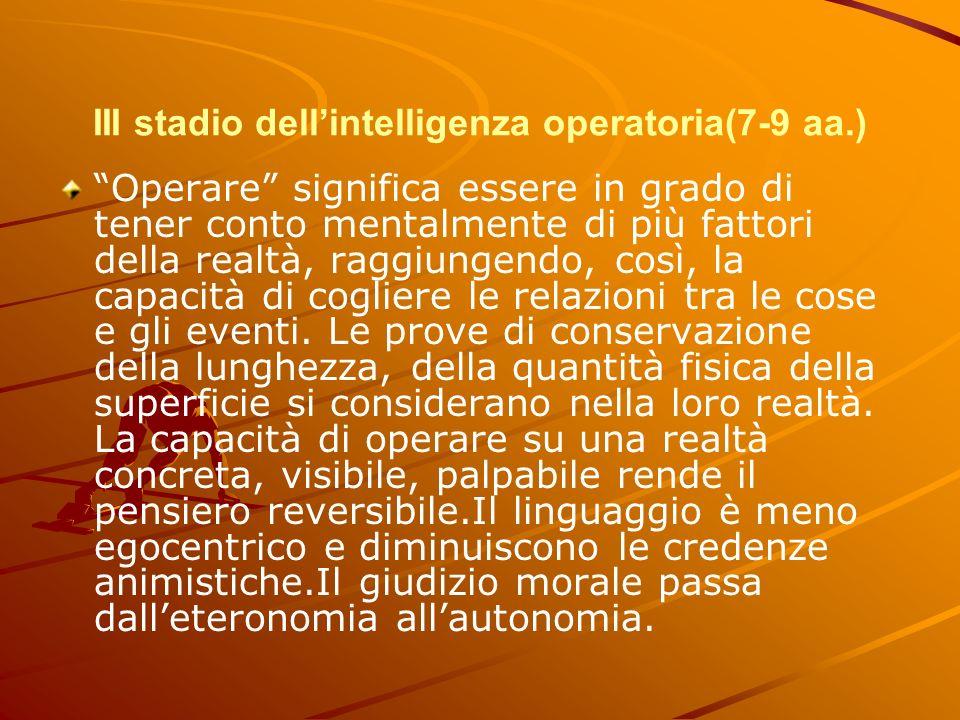 III stadio dell'intelligenza operatoria(7-9 aa.)