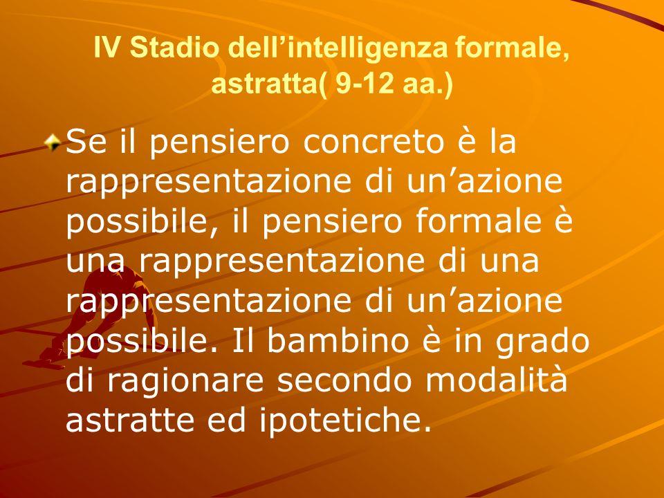 IV Stadio dell'intelligenza formale, astratta( 9-12 aa.)
