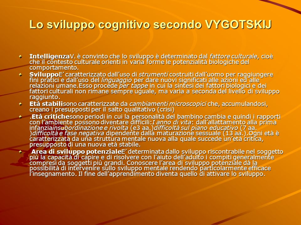 Lo sviluppo cognitivo secondo VYGOTSKIJ