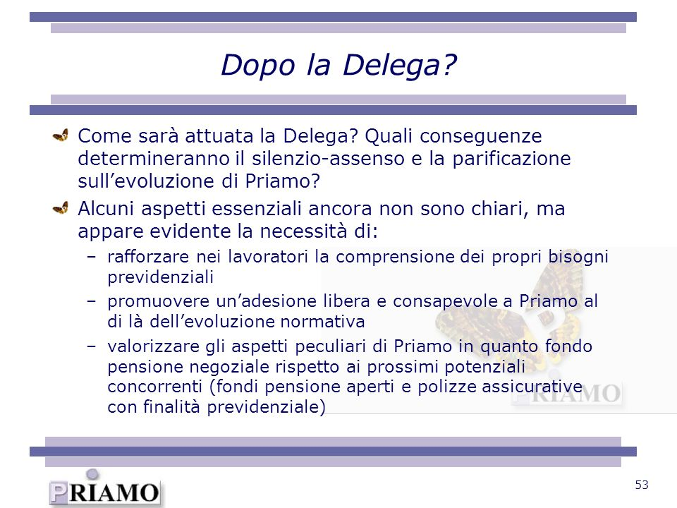 Dopo la Delega Come sarà attuata la Delega Quali conseguenze determineranno il silenzio-assenso e la parificazione sull'evoluzione di Priamo