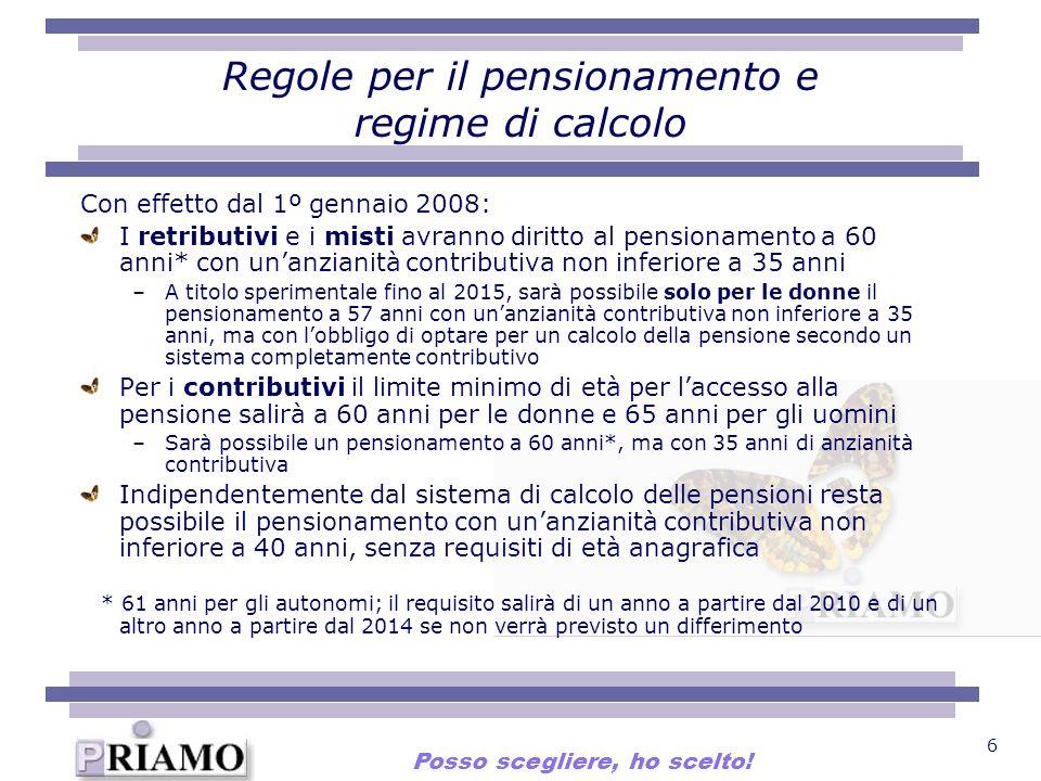 Regole per il pensionamento e regime di calcolo
