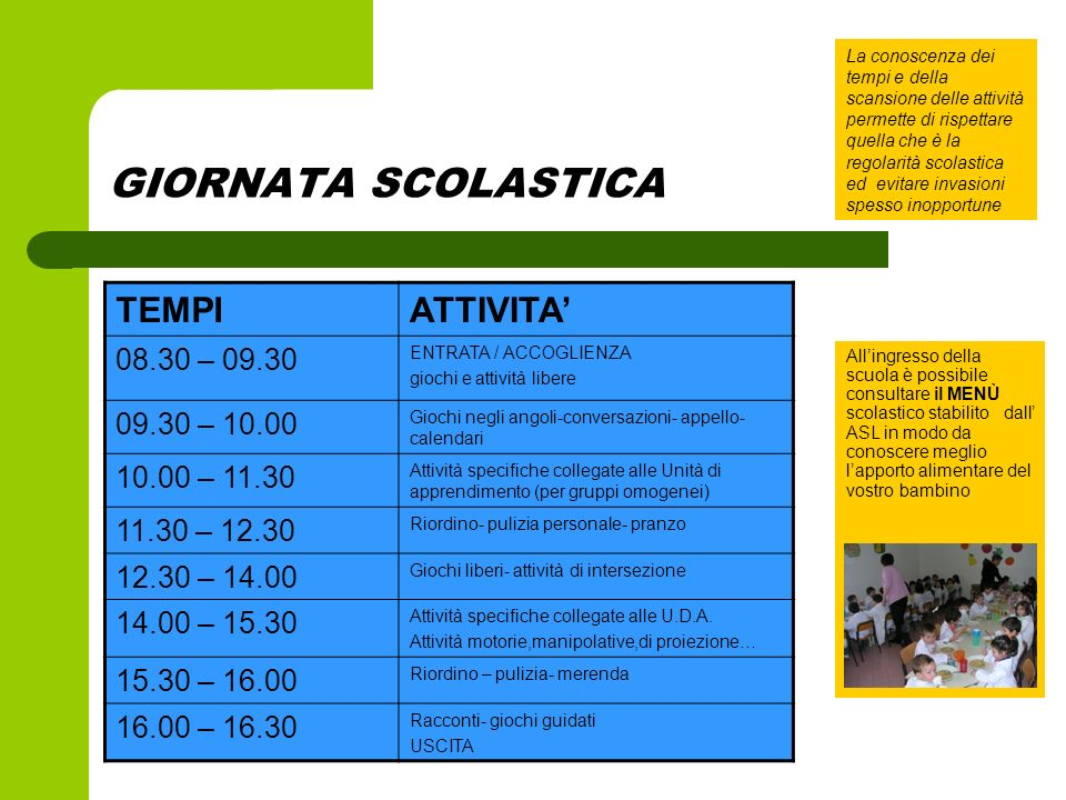GIORNATA SCOLASTICA TEMPI ATTIVITA' 08.30 – 09.30 09.30 – 10.00