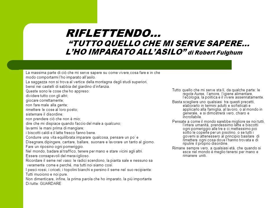 RIFLETTENDO… TUTTO QUELLO CHE MI SERVE SAPERE… L'HO IMPARATO ALL'ASILO di Robert Fulghum