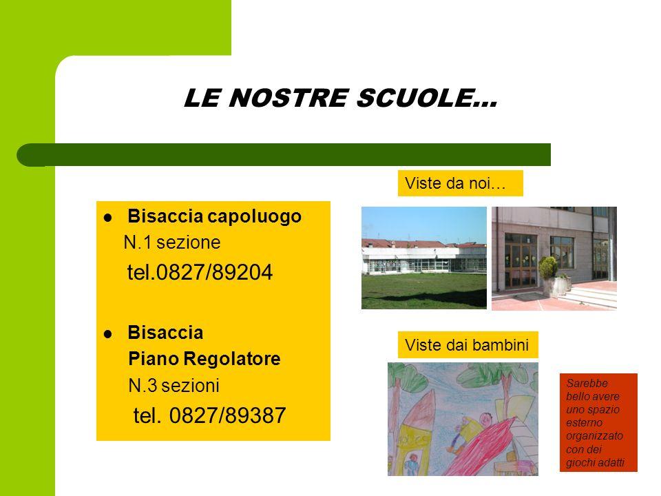 LE NOSTRE SCUOLE… tel.0827/89204 tel. 0827/89387 Bisaccia capoluogo