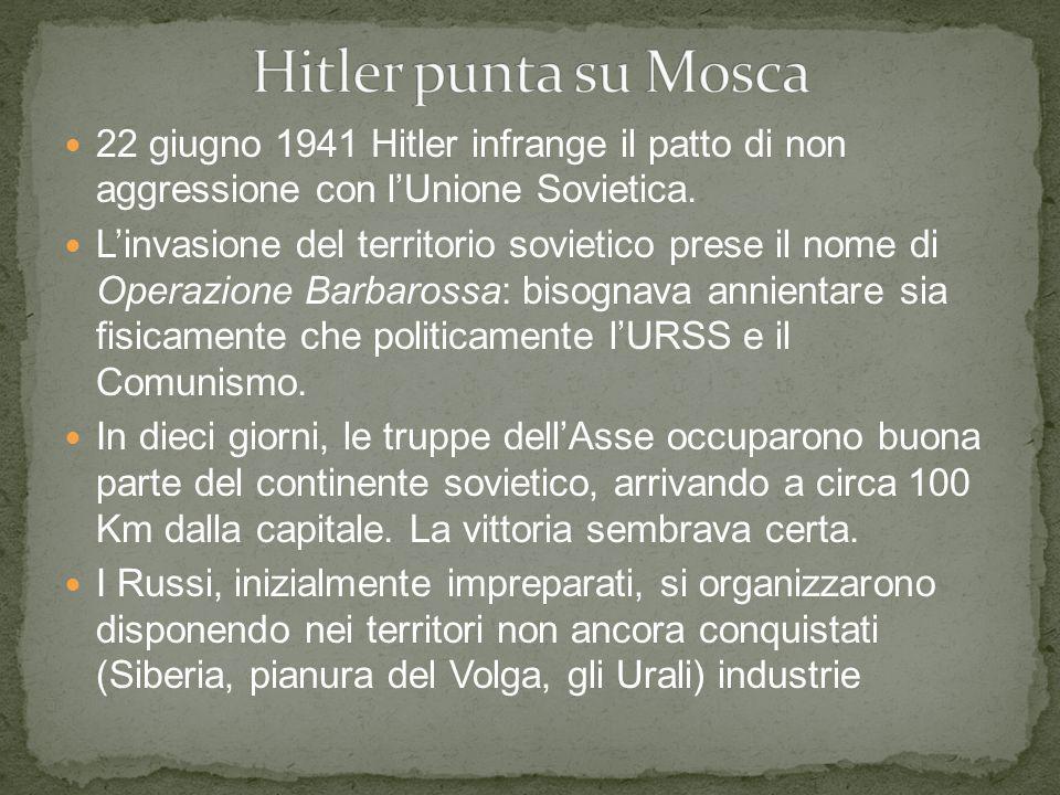 Hitler punta su Mosca 22 giugno 1941 Hitler infrange il patto di non aggressione con l'Unione Sovietica.