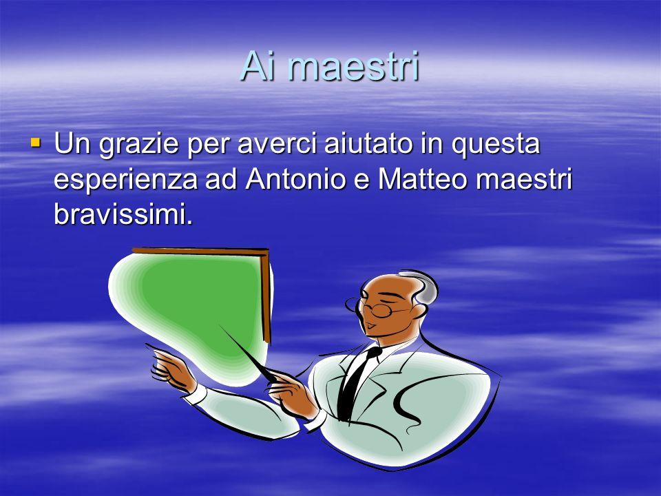 Ai maestri Un grazie per averci aiutato in questa esperienza ad Antonio e Matteo maestri bravissimi.