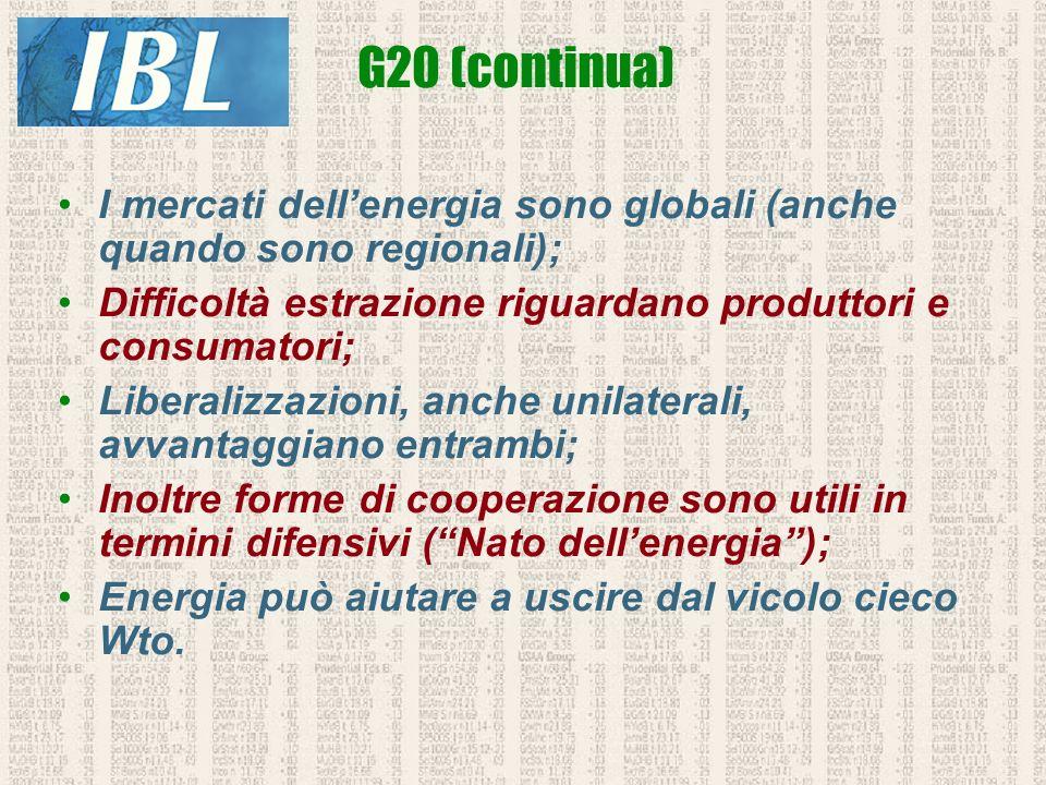 G20 (continua) I mercati dell'energia sono globali (anche quando sono regionali); Difficoltà estrazione riguardano produttori e consumatori;