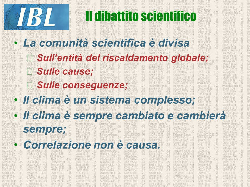 Il dibattito scientifico