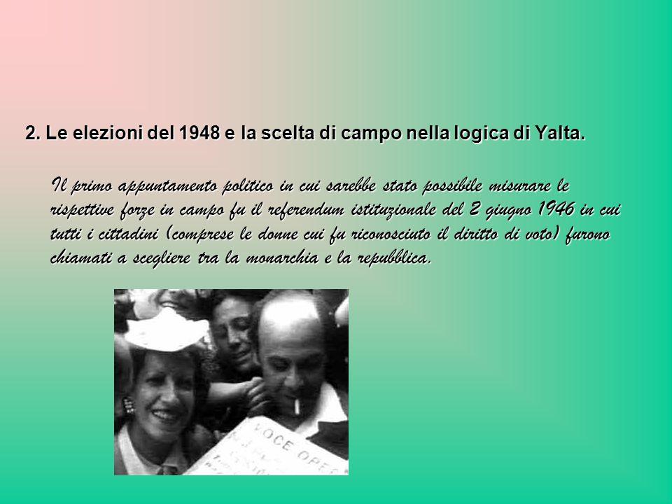 2. Le elezioni del 1948 e la scelta di campo nella logica di Yalta.