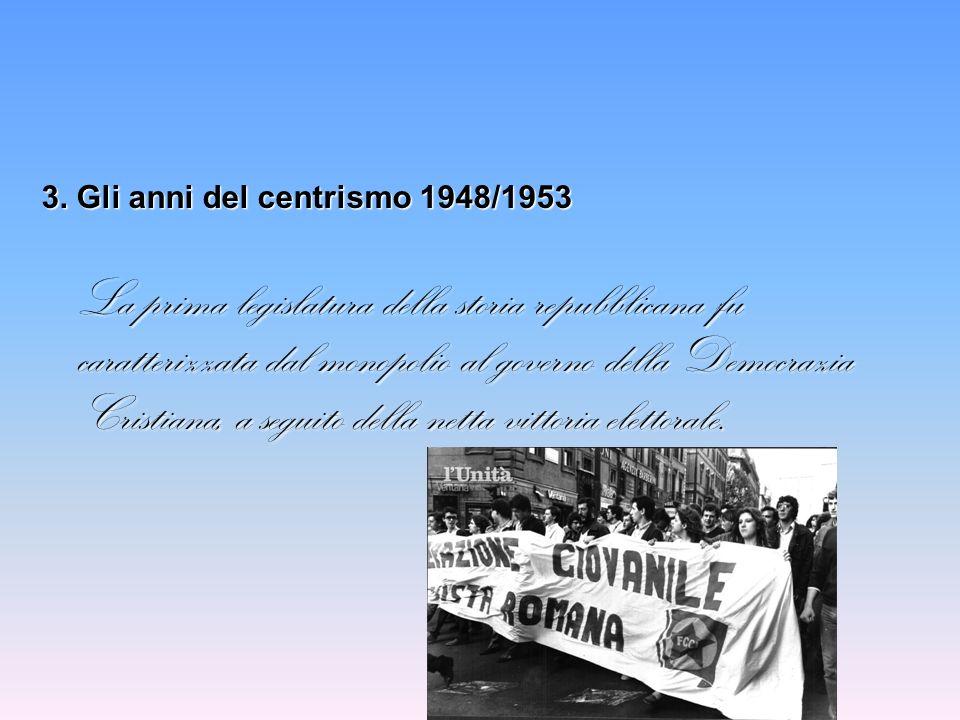 3. Gli anni del centrismo 1948/1953