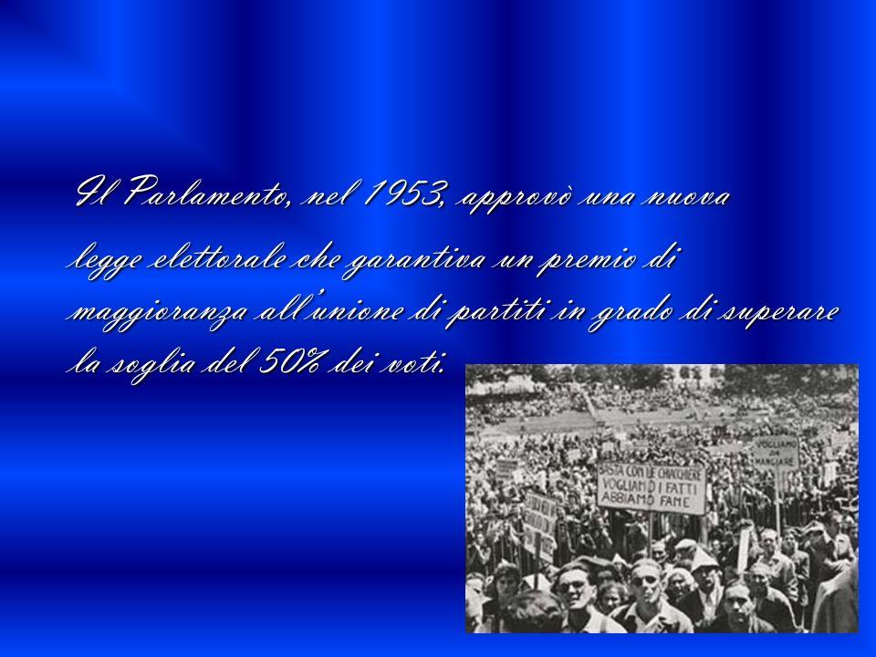 Il Parlamento, nel 1953, approvò una nuova