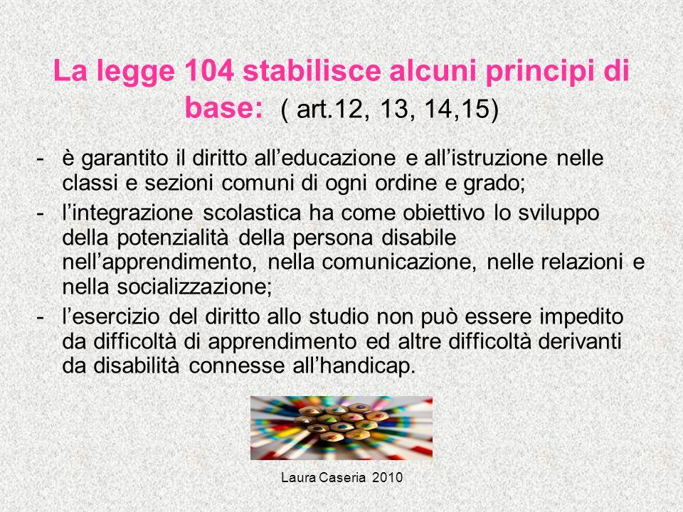 La legge 104 stabilisce alcuni principi di base: ( art.12, 13, 14,15)
