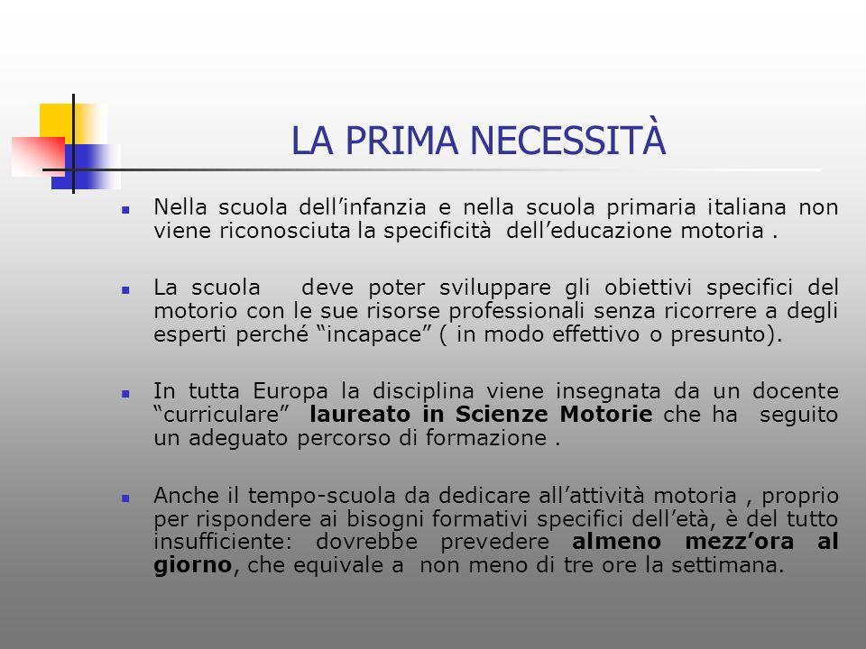LA PRIMA NECESSITÀ Nella scuola dell'infanzia e nella scuola primaria italiana non viene riconosciuta la specificità dell'educazione motoria .