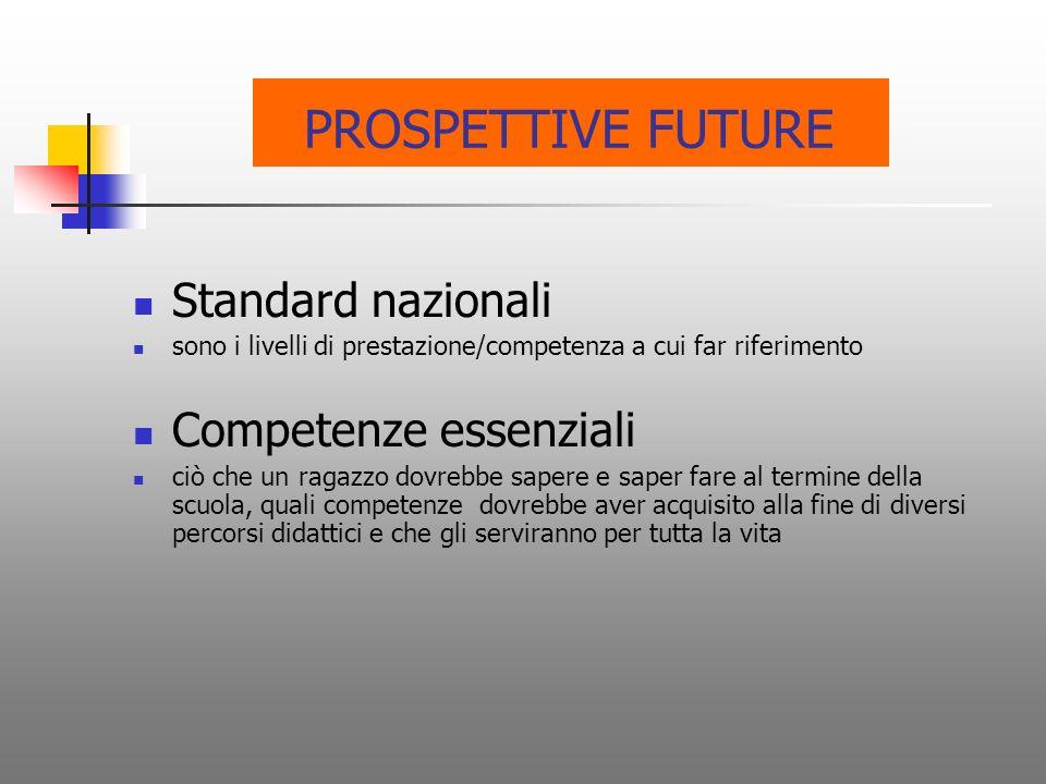 PROSPETTIVE FUTURE Standard nazionali Competenze essenziali
